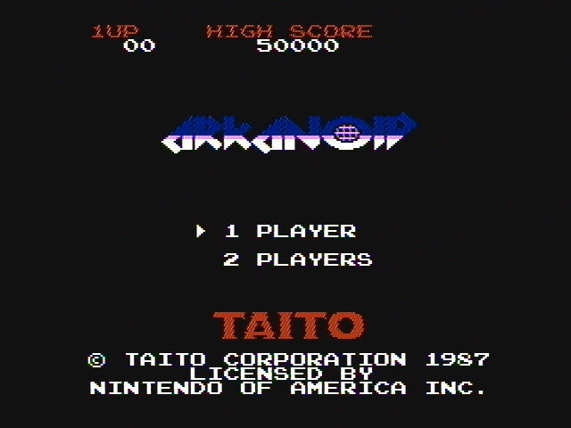 Arkanoid NES Title screen