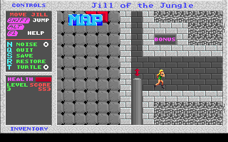 Jill of the Jungle DOS Entering a bonus level.