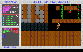 Jill of the Jungle DOS This is a bonus level. There aren't any weapons, but come on - there is only a crab and plenty of apples to collect.