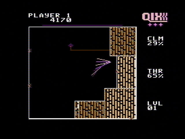 QIX NES Drawing off sections of the screen