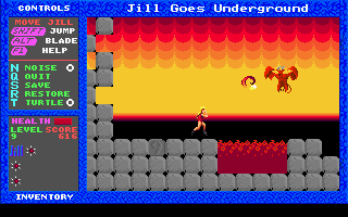 Jill of the Jungle: Jill Goes Underground DOS Welcome in heck, the hardest level in the game. Have fun with demons!