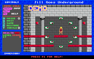 Jill of the Jungle: Jill Goes Underground DOS Screenshot from demo-mode. I've got a strange feeling, that I'm watched...