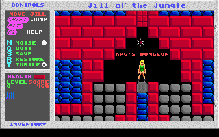 Jill of the Jungle DOS Jill enters Arg's Dungeon, ready to smash rocks!
