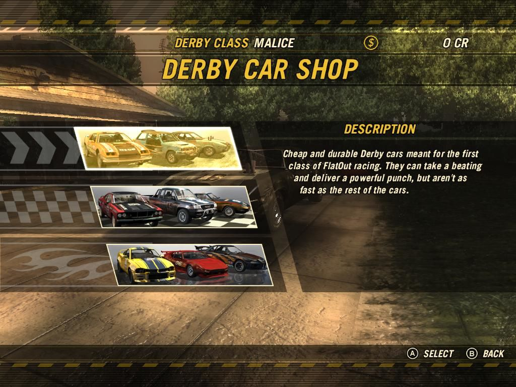 FlatOut: Ultimate Carnage Windows Car Shop