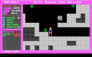 Jill of the Jungle: Jill Saves the Prince DOS You can't destroy these balls, but you can avoid them.