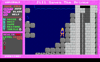 Jill of the Jungle: Jill Saves the Prince DOS Usually, when you touch the water, you die. Usually. No cheats used!