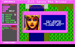 Jill of the Jungle: Jill Saves the Prince DOS A shot from map-based world
