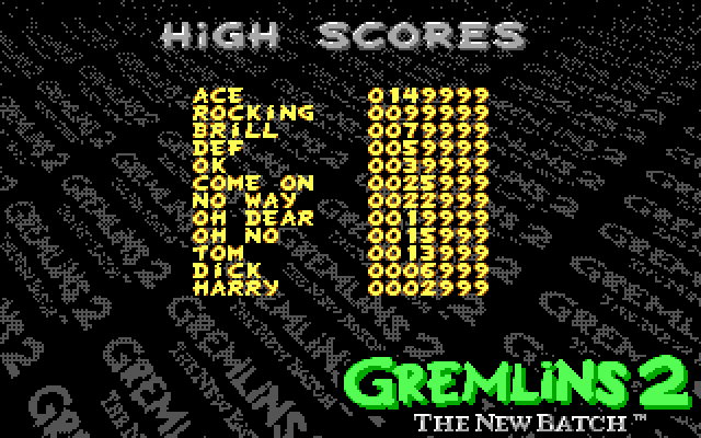 Gremlins 2: The New Batch DOS High Scores