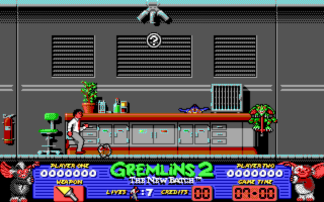 Gremlins 2: The New Batch DOS Billy's running around the lab trying to avoid projectiles.