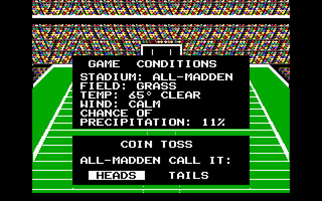 John Madden Football DOS The game conditions