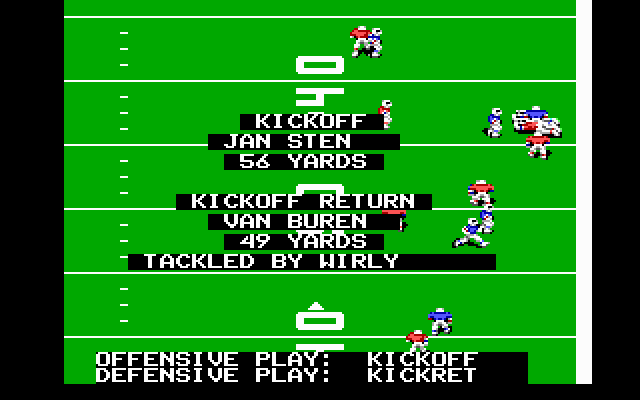 John Madden Football DOS 56 yards...not bad I guess...