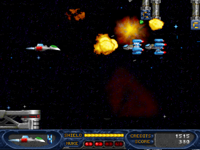 Stargunner DOS You can blast those crates up top to release bonus items or just points.