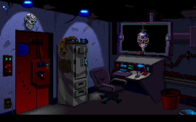 The Terminator 2029 DOS This is the main menu where you pick what you'd like to do. The monitor is where you load and save games and make characters, the door leads to missions and the bucket makes you bail to DOS.