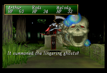 Shining the Holy Ark SEGA Saturn Forest of Confusion ~ In addition to magic and physical attacks, some enemies are able to execute special attacks. The 'Lingering Ghosts' can reduce the party member's speed and defense.
