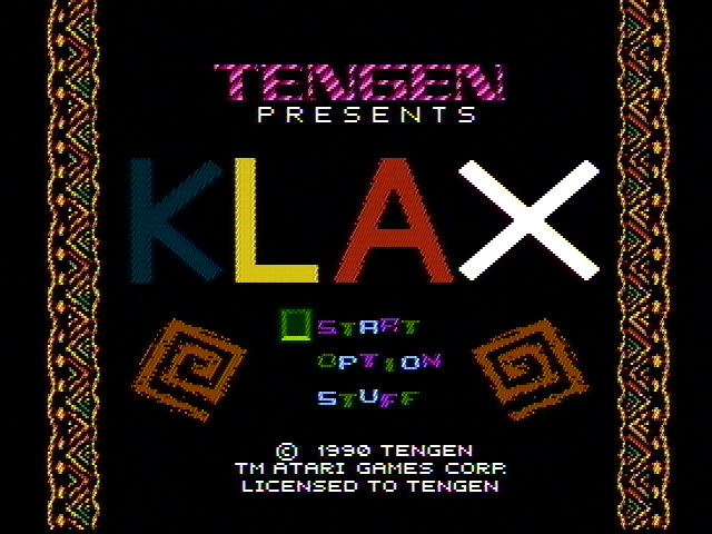 Klax NES Title screen