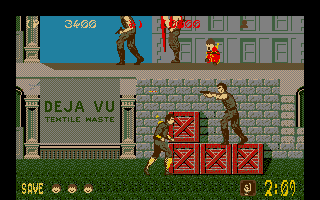 Shinobi Atari ST A tricky spot.  The new enemy up top throws his sword like a boomerang, while hiding behind a shield.