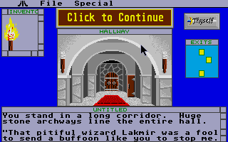 Shadowgate Atari ST Top center kindly lets you know that there's more text to be read.