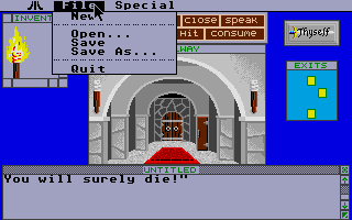 Shadowgate Atari ST In-game pull-down menus