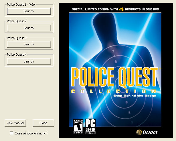 Police Quest Collection Windows Police Quest Collection game launch menu