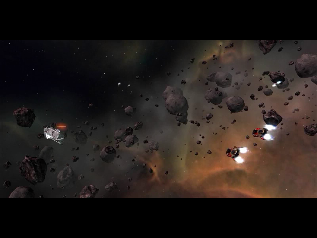 Star Wolves Windows Scene from the intro movie: Merchant ship under attack