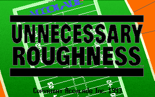 Unnecessary Roughness DOS Title screen.