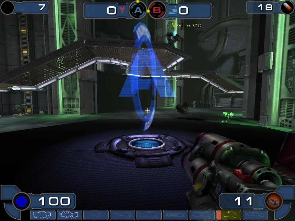 Unreal Tournament 2003 Windows To win in Double Domination, you need to hold control points A (seen here) and B for ten seconds.