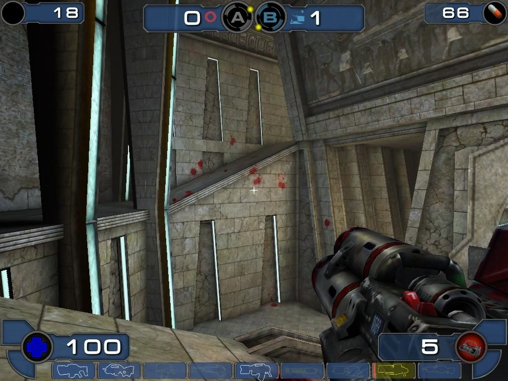 Unreal Tournament 2003 Windows Those blood marks are from somebody's head that went bouncing.