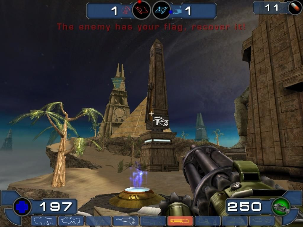 Unreal Tournament 2003 Windows Facing Worlds 3, an Egyptian variation of the ever popular sniping map, Facing Worlds, from the first game.
