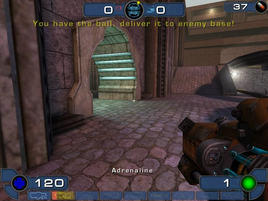 Unreal Tournament 2003 Windows Using this specialized gun, available only in Bombing Run, you can pass the ball to teammates, or shoot it at the goal.