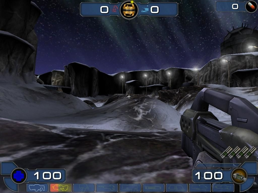 Unreal Tournament 2003 Windows A snowy wasteland... perfect place to spill some blood.
