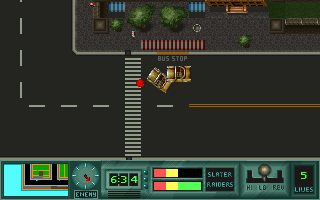 Last Action Hero DOS It is quite possible to run over pedestrians. That red blotch was once a man going for a jog.