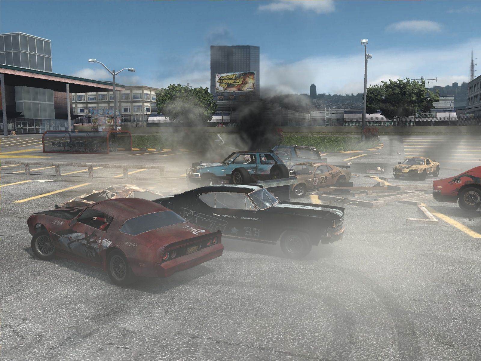 FlatOut: Ultimate Carnage Windows I'm literally on top of things with the worst car in the game.