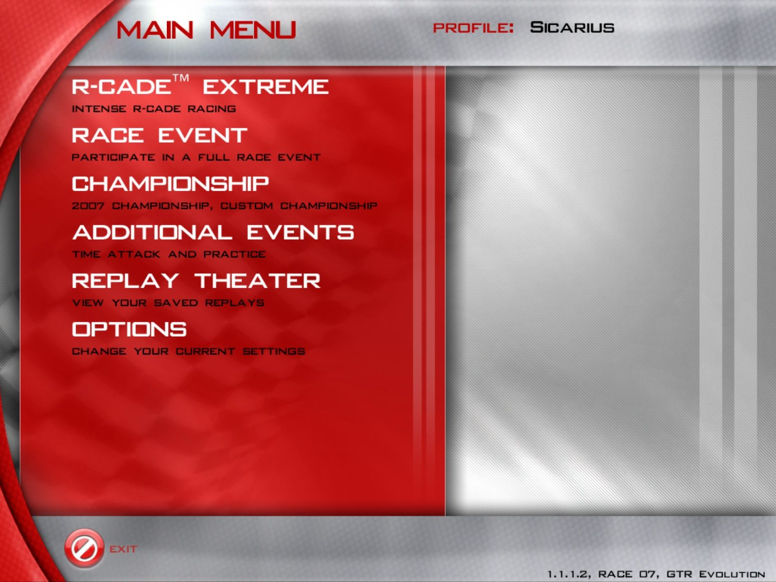 GTR Evolution Windows Main Menu