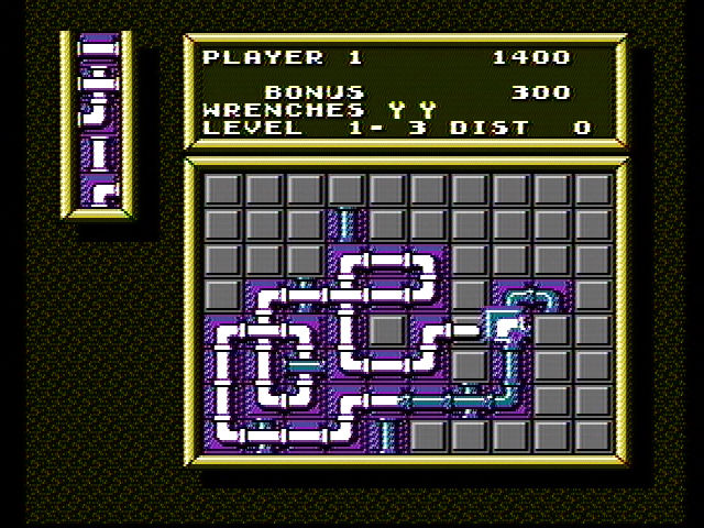 Pipe Dream NES Earn bonus points for water that loops over itself