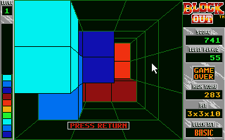 Blockout Atari ST Oops, game over