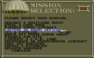 Airborne Ranger Atari ST Mission selection screen