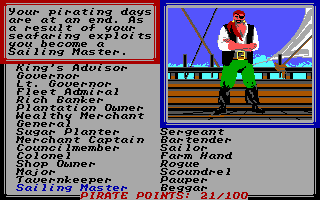Sid Meier's Pirates! PC Booter I retire to a life of being a sailing master.