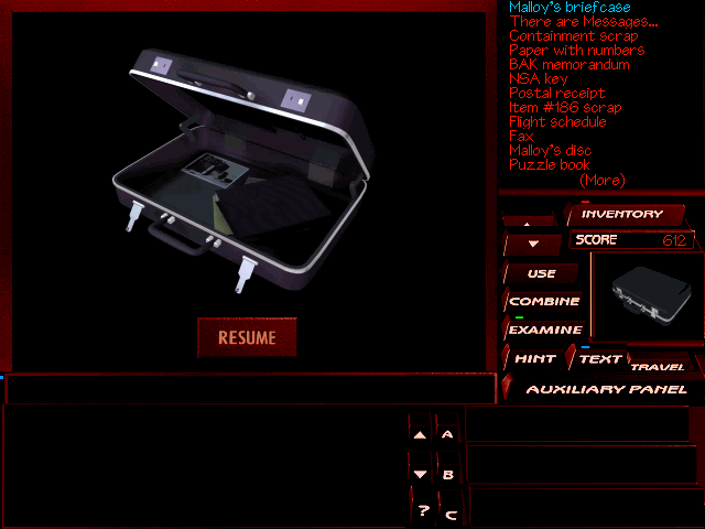 The Pandora Directive DOS Malloy's briefcase