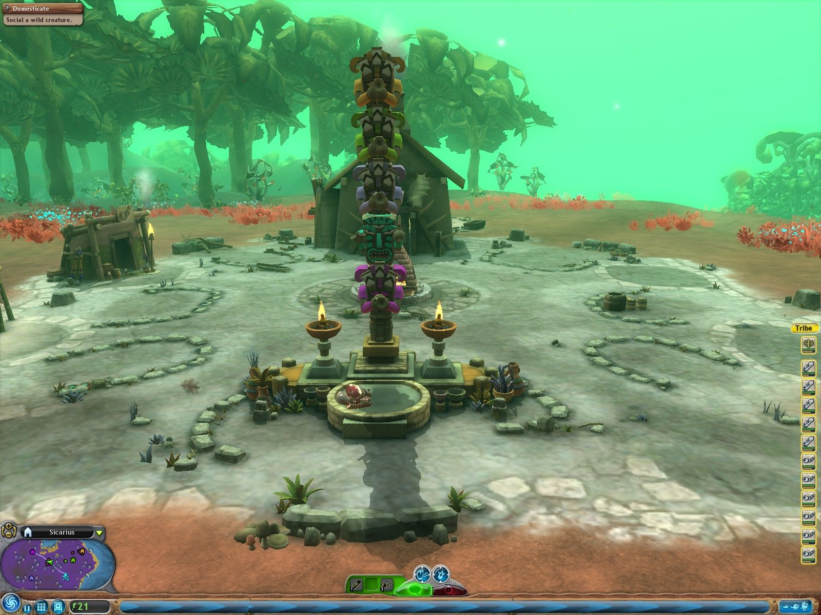 Spore Windows I conquered or allied myself with every neighbouring tribe and the totem shows that.