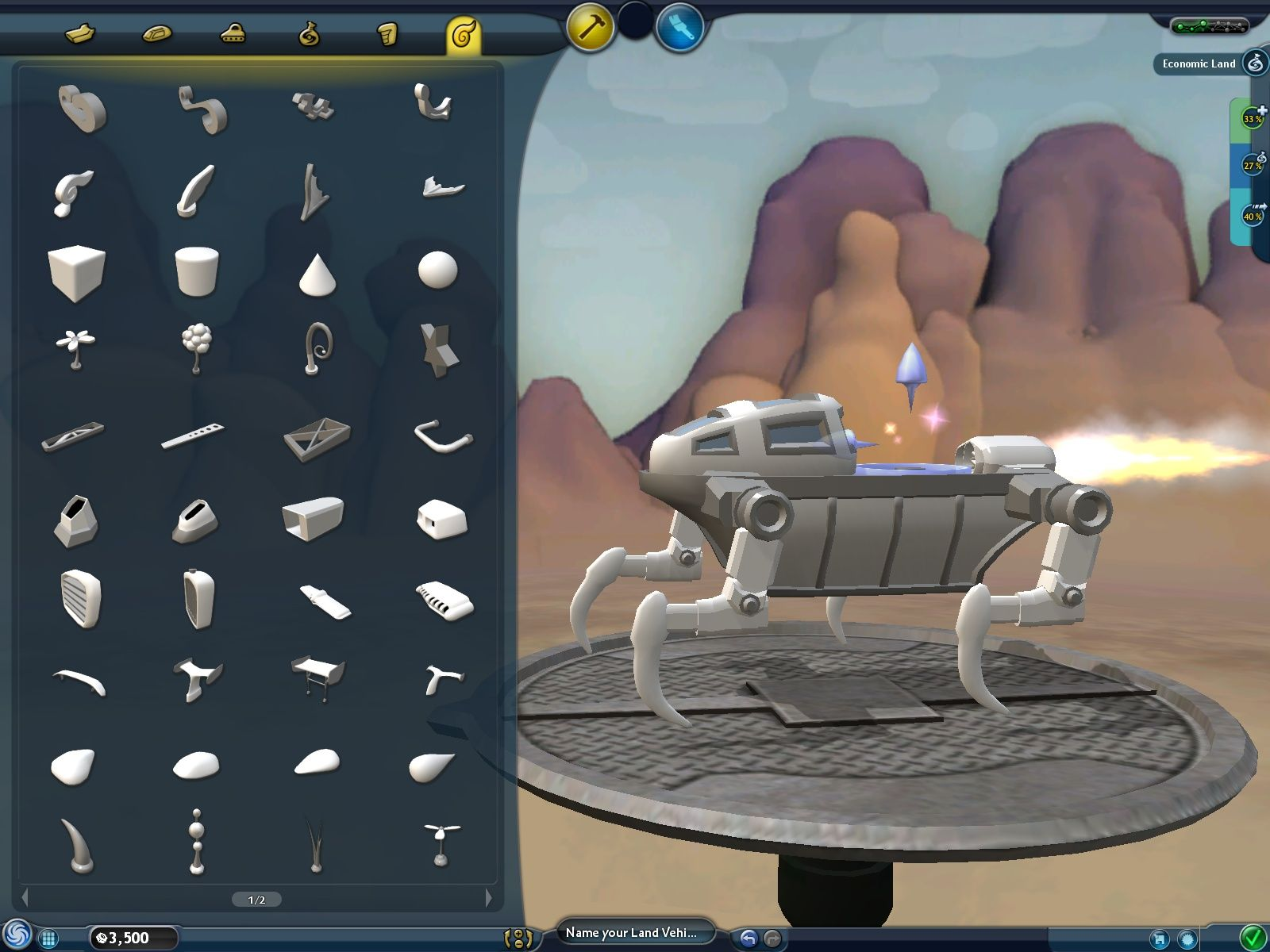 Spore Windows Building a land vehicle in the vehicle editor.