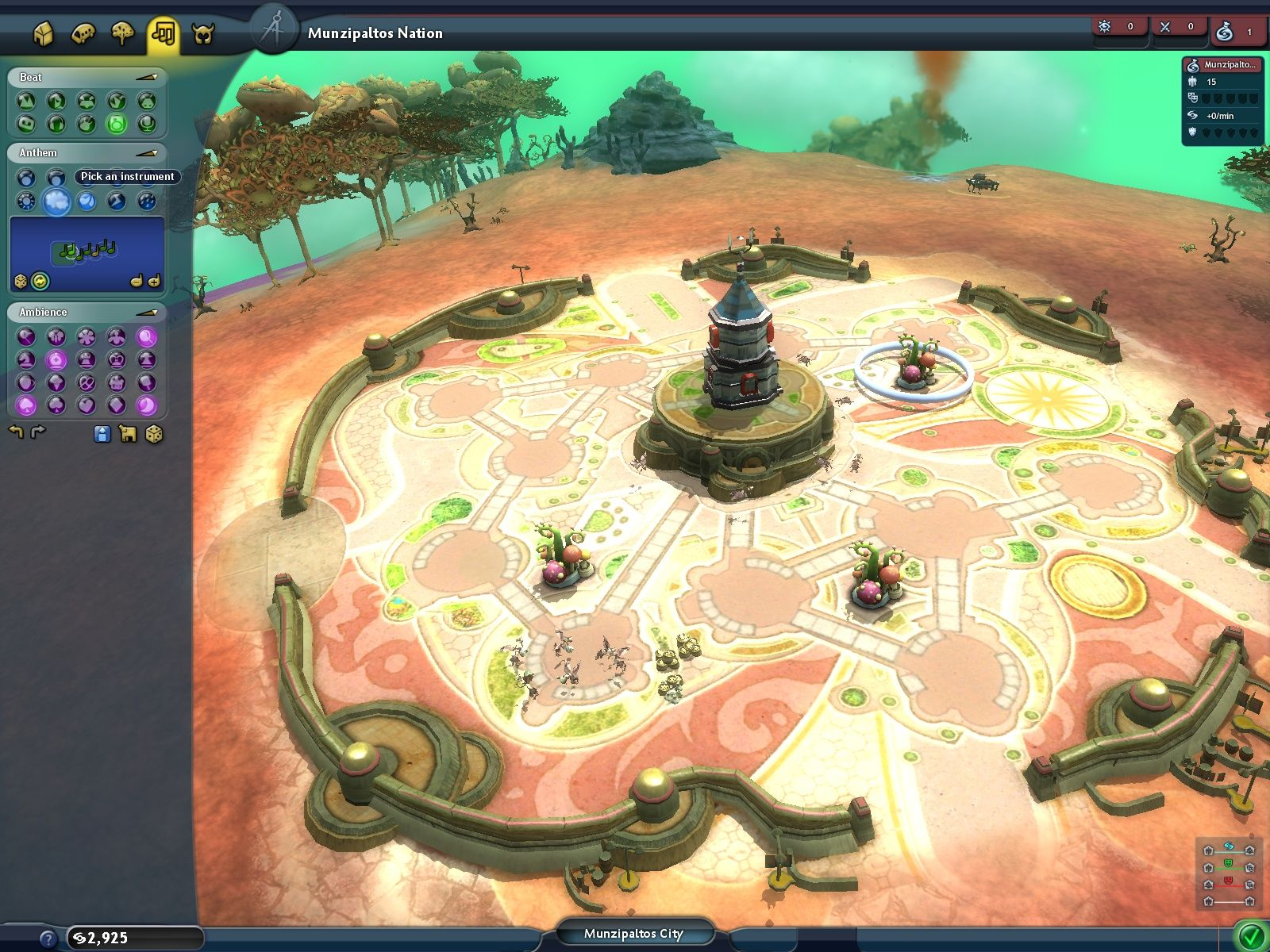 Spore Windows In the city planner the player can even create an anthem for his creatures.