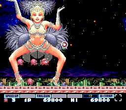 Parodius TurboGrafx-16 Fly between the dancer's legs at the right moment