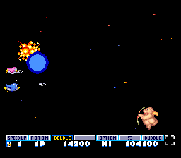 Parodius TurboGrafx-16 In-between levels, you can shoot some easy enemies to power up