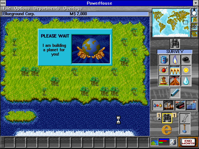 Powerhouse Windows 3.x There is an option to play on a new, randomly-generated world