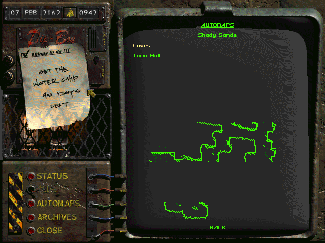 Fallout Windows Pip boy's map screen