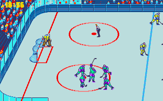 Blades of Steel Amiga Players celebrating goal