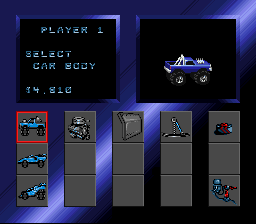 RPM Racing SNES Select your vehicle style.