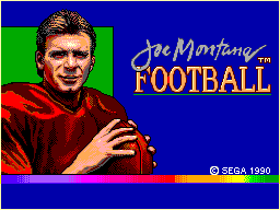 Joe Montana Football SEGA Master System Title screen