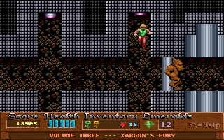 Xargon DOS Episode 3; Lots of underground levels and mazes. You've got to bump the ceiling buttons to open certain walls like the one that brute is behind.