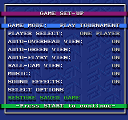 PGA Tour Golf SNES Main menu